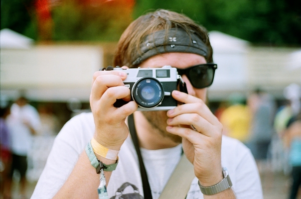 Andrew with a Canonet Rangefinder. Cute little film cameras for starters! Kodak Portra 400
