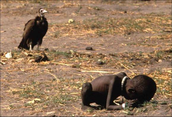 photograph by Kevin Carter, Pulitzer Prize winner 1993. This image is probably one of the most famous film images to date. Not only did it bring up questions of ethics in photojournalism but the photographer committed suicide three months after taking this photo. No one knows for sure why but there is much speculation.