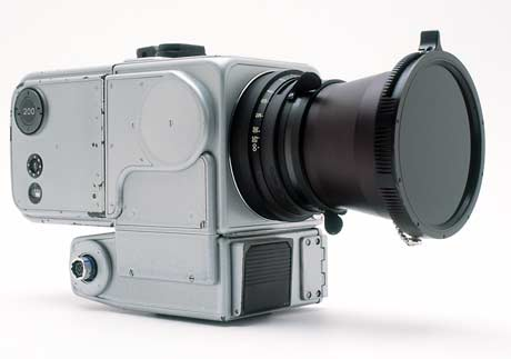 Hasselblad EDC (Electric Data Camera)This is a specially designed version of the motorized 500EL intended for use on the surface of the moon, where the first lunar pictures were taken on 20 July 1969 by Neil Armstrong. The camera is equipped with a specially designed Biogon lens with a focal length of 60 mm, with a polarization filter mounted on the lens. A glass plate (Reseau-Plate), provided with reference crosses which are recorded on the film during exposure, is in contact with the film, and these crosses can be seen on all the pictures taken on the moon from 1969 to 1972. The 12 HEDC cameras used on the surface of the moon were left there. Only the film magazines were brought back.