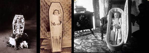 Dead babies in coffins really isn't my thing, but this is basically what people did to remember their children. Everyday photography like we are lucky to have didn't exist then.