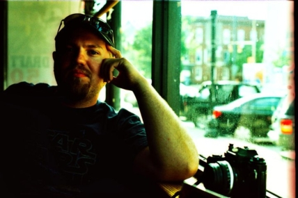 Film photographer Jim Grove on some film, taken by his girlfriend.