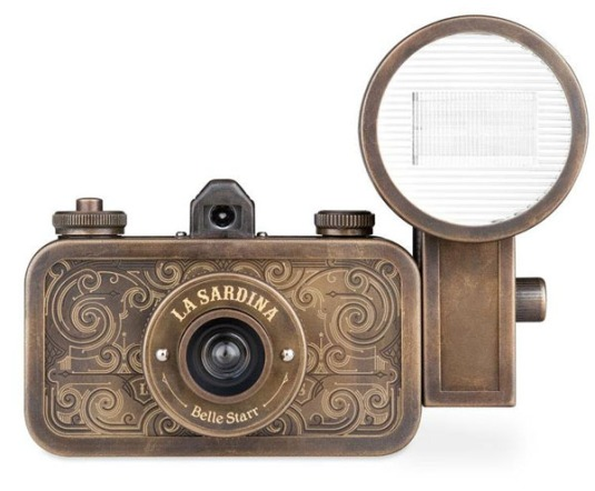 Here's a photo of a La Sardina Lomography Camera from the line the Urban Outfitters man was talking about. This particular model retails for $200. There are many styles and prices to choose from and it's 35mm.