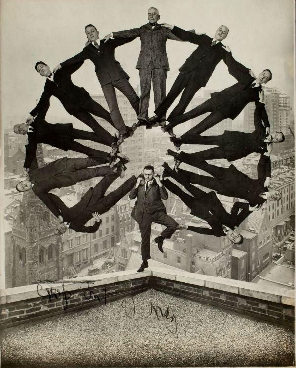 Unidentified American artist, Man on Rooftop with Eleven Men in Formation on His Shoulders, ca. 1930.Gelatin silver print, Collection of George Eastman House, International Museum of Photography and Film