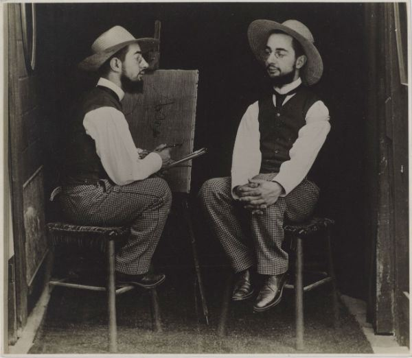 Maurice Guibert (French, 1856–1913), Henri de Toulouse-Lautrec as Artist and Model, ca. 1900. Gelatin silver print; Philadelphia Museum of Art