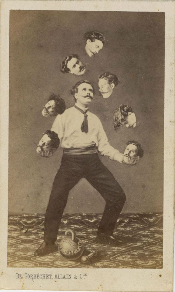 Unidentified French artist, Published by Allain de Torbéchet et Cie., Man Juggling His Own Head, ca. 1880. Albumen silver print from glass negative. Collection of Christophe Goeury
