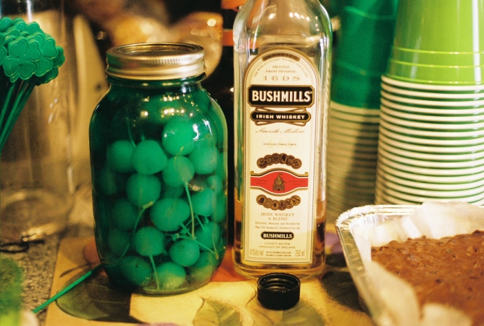 Obviously, we're Irish. Moonshine cherries, dyed green. Kodak Portra 400/Canon AE-1