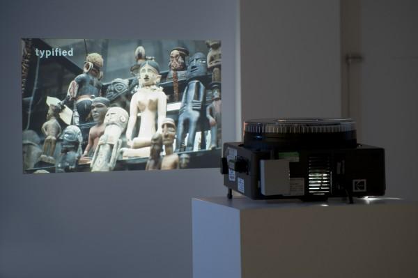 Slide film projector showing a slide.