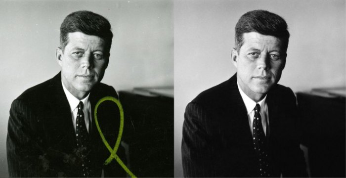 "This is Jacques Lowe's first portrait of John F. Kennedy, made during one of Kennedy's rare days off from his 1958 Senate re-election campaign. To restore this image for the Newseum's ""Creating Camelot"" exhibit, the image was cleaned, the tone adjusted and the yellow mark removed."