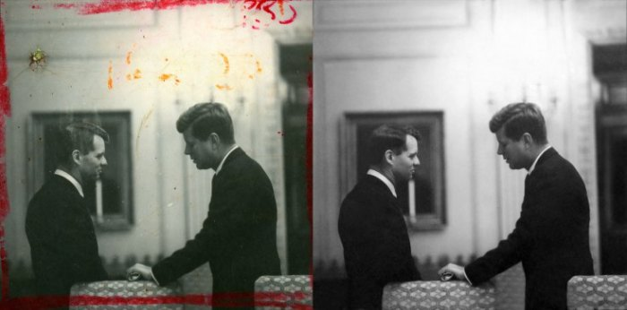 "This image of President John F. Kennedy and his brother Robert at the White House in 1961 is featured in a film in the Newseum's ""Creating Camelot"" exhibit. In the restored version, right, the marks on the photo and the hole in the contact sheet were digitally removed."