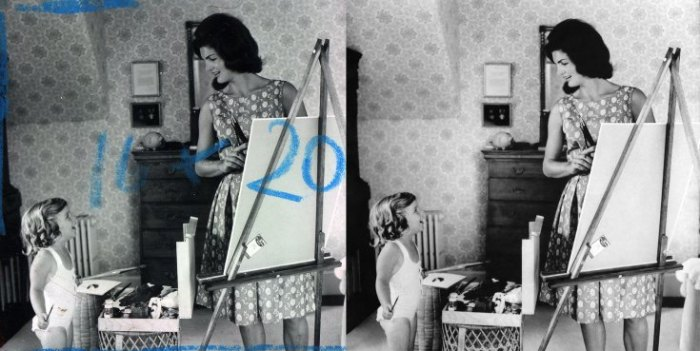 "Jacqueline Kennedy paints with her daughter, Caroline. The blue marks made by the photographer were removed for the image at right, which appears in the Newseum's ""Creating Camelot"" exhibit."