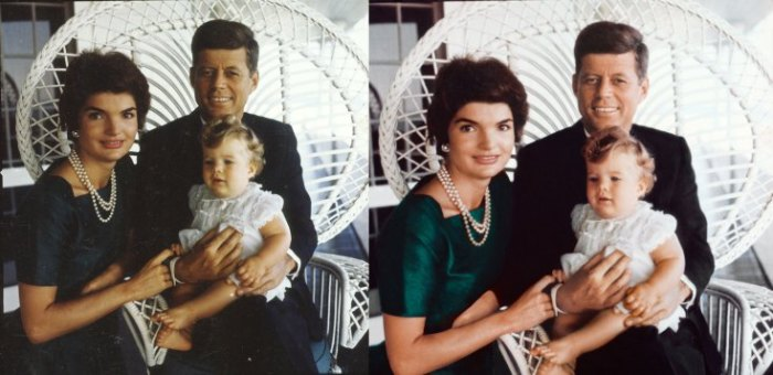 Jacques Lowe captured this portrait of the Kennedys with their daughter, Caroline, during his first session with the family in the summer of 1958. For the exhibit version, at right, the photograph was cleaned and its color was restored.