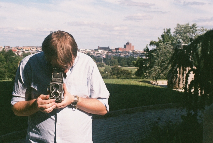 Andrew focusing the Rolleicord. In a TLR, you look down into what is called a waist-level finder to see what the lens sees in front of you.