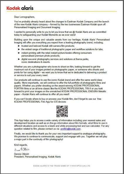 Official press release from Kodak.