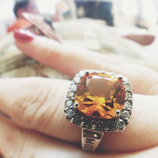 School ring. Citrine for luck, success and diamonds, because, well, diamonds.