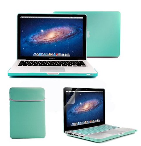 "Apple 13"" Macbook Pro shown with GMYLE turquoise blue case."