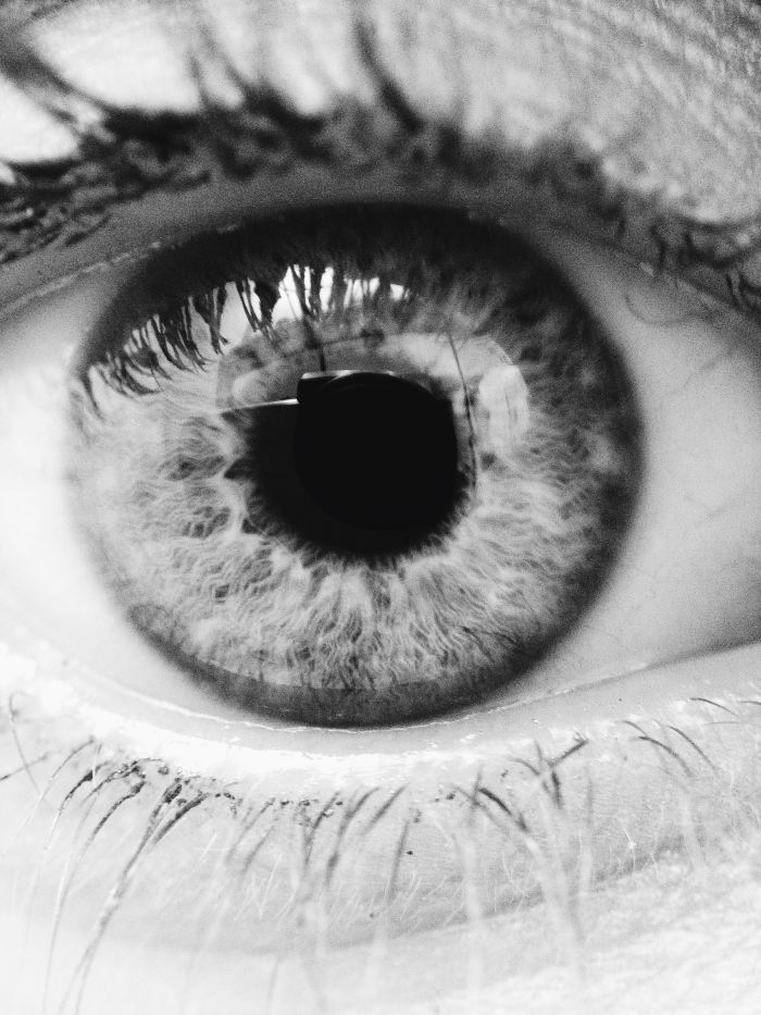 My eye. in black and white. It's the top left one on the collage.