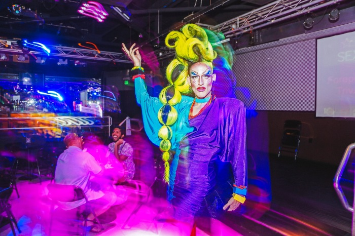 Baltimore, MD -- June 27, 2014 -- Acid Betty strikes a pose at Club Hippo's gay sex trivia event this past Friday. (Kaitlin Newman/Baltimore Sun)