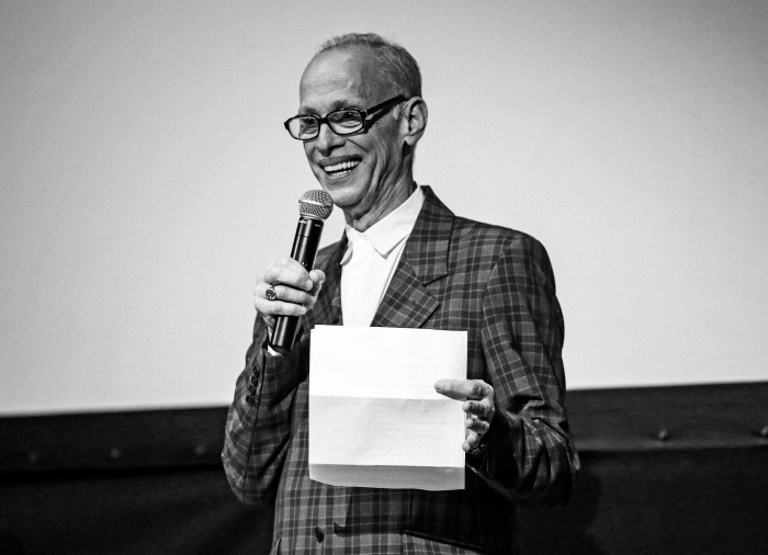 "Baltimore, MD -- May 9, 2014 -- John Waters introduces French film, ""Abuse of Weakness"" by director Catherina Breillat at the Maryland Film Festival held this past weekend. (Kaitlin Newman/Baltimore Sun)"