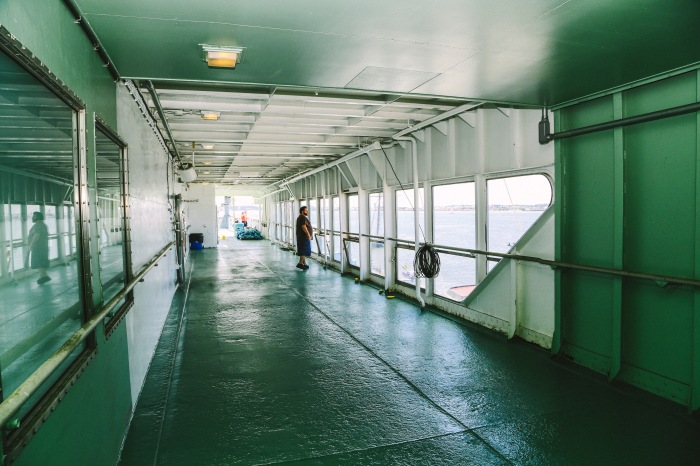 Baltimore, MD -- May 18, 2014 -- NS Savannah is 596.5 feet in length and has a dining facility big enough for 100 passengers. People got to explore the inside at the second annual Maritime Day this past Sunday. (Kaitlin Newman/Baltimore Sun)