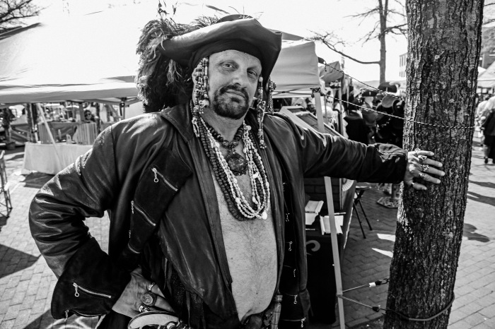Baltimore, MD -- April 12, 2014 -- Ken Isbelle, 50, of Urbana, MD dresses up as a pirate at this year's annual Privateer festival in Fells point. The festival ran through the weekend and featured a variety of vendors, food and entertainment. (Kaitlin Newman for Baltimore Sun)