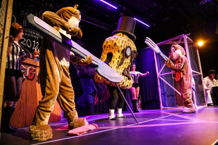 Baltimore, Md — January 17, 2015 — Mr. Peanut and Chip and Dale duke it out at Elvis' Birthday Fight Club at the Creative Alliance this past Saturday. (Kaitlin Newman for The Baltimore Sun)