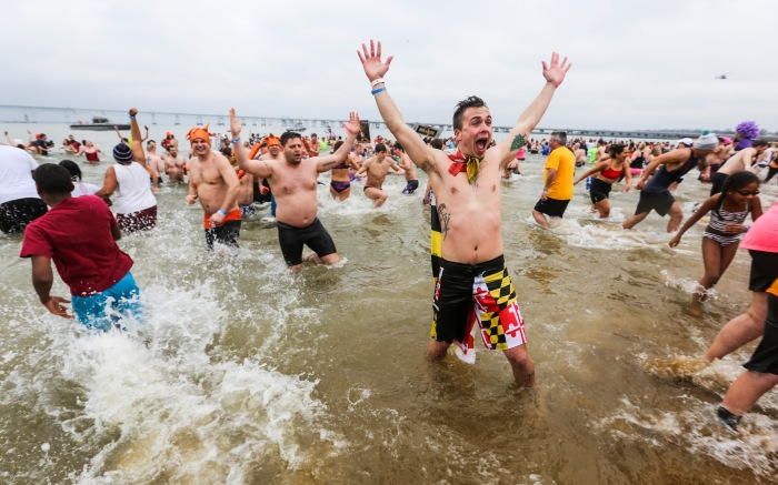 Annapolis, Md — January 24, 2015 — Brian Averill, 28, from Baltimore, MD, shows off his Maryland pride at the Polar Bear Plunge this past Saturday. (Kaitlin Newman/Baltimore Sun)