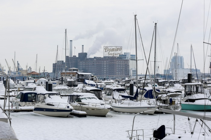 Baltimore, Md — February 22, 2015 — The frozen marina was blanketed in several inches of snow following Saturday's snowstorm. (Kaitlin Newman for Baltimore Sun)