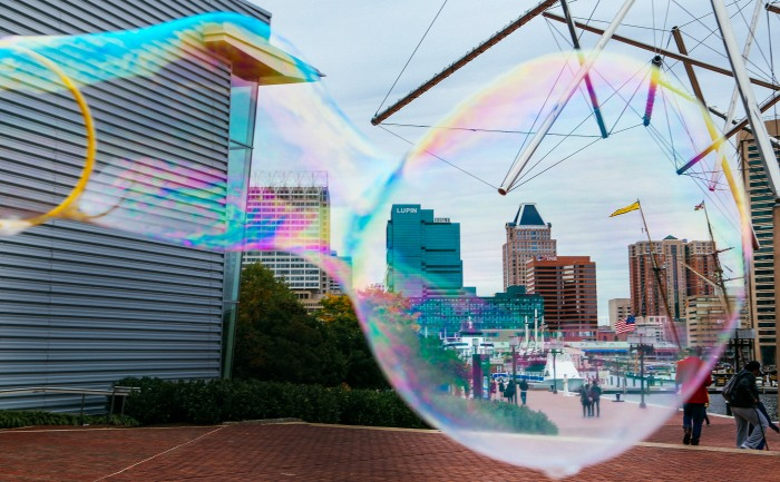 Baltimore, Md - October 24, 2015 - The Baltimore skyline is encapsulated in a bubble.  (Kaitlin Newman)